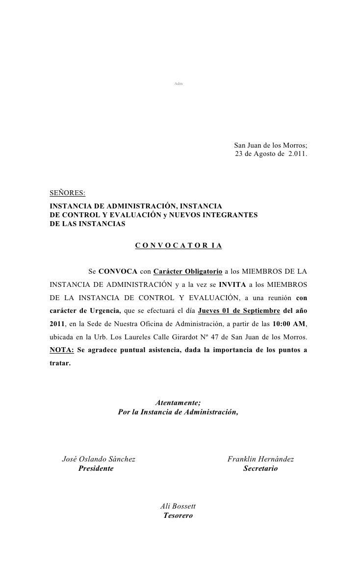 (08) 23 08-11 convocatoria  reunión adm, control y evaluacion