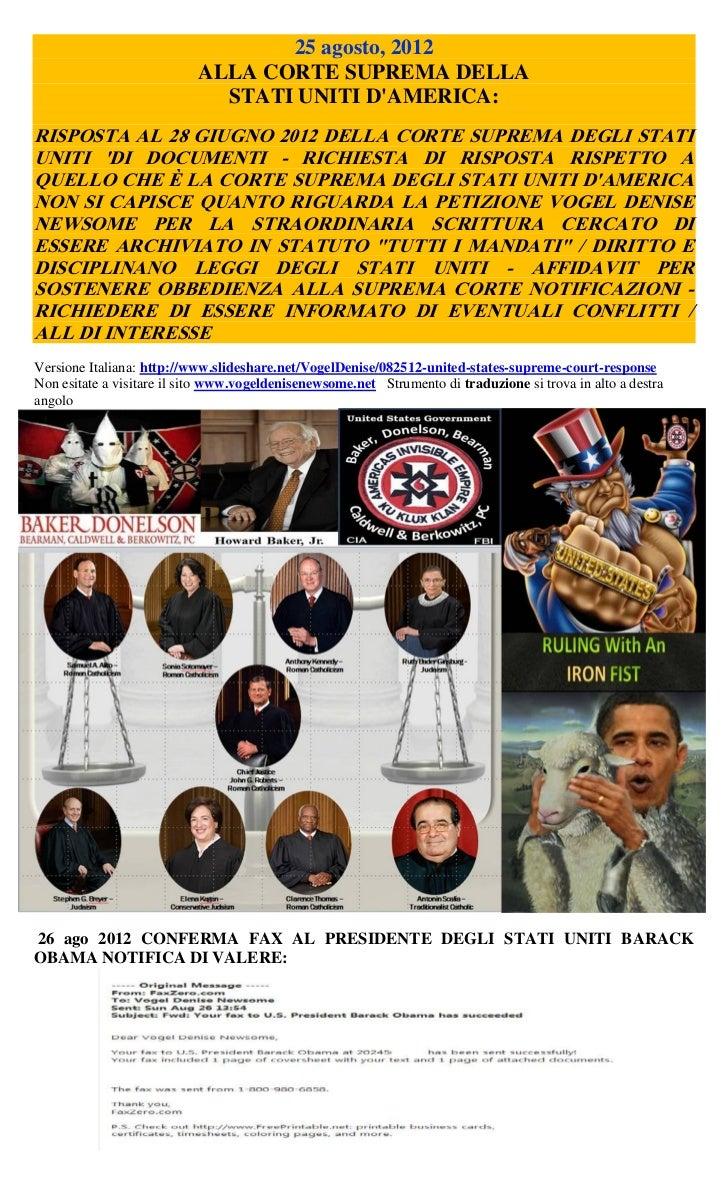25 agosto, 2012                           ALLA CORTE SUPREMA DELLA                             STATI UNITI DAMERICA:RISPOS...