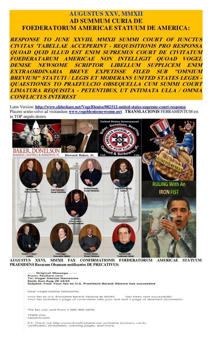 AUGUSTUS XXV, MMXII                 AD SUMMUM CURIA DE      FOEDERATORUM AMERICAE STATUUM DE AMERICA:RESPONSE TO JUNE XXVI...
