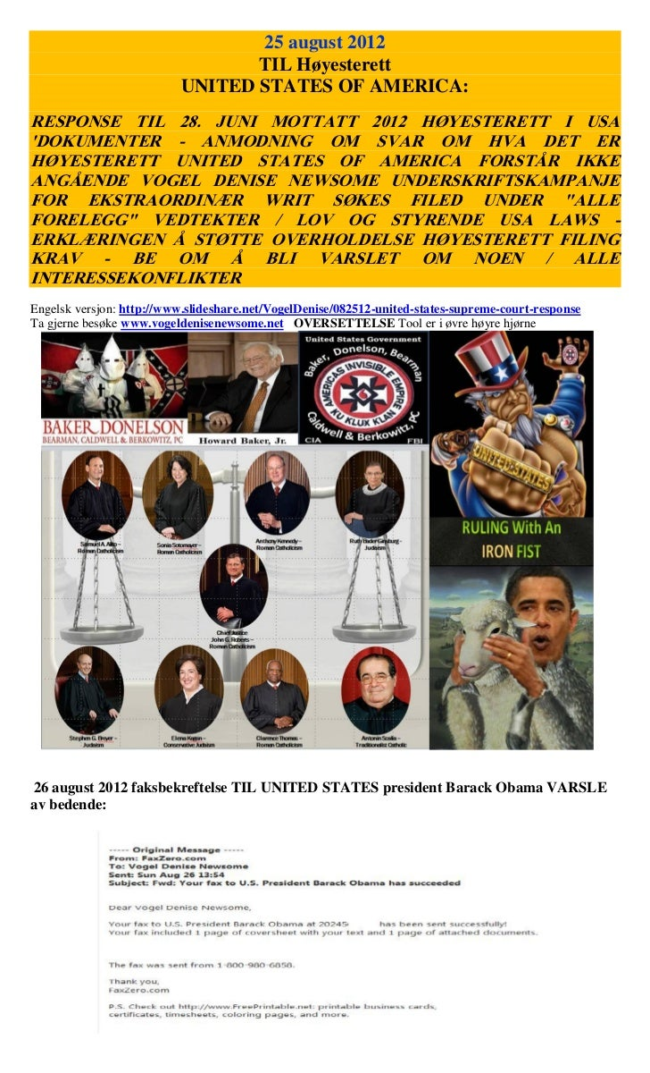 25 august 2012                                 TIL Høyesterett                          UNITED STATES OF AMERICA:RESPONSE ...