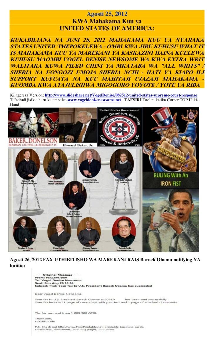 Agosti 25, 2012                             KWA Mahakama Kuu ya                          UNITED STATES OF AMERICA:KUKABILI...