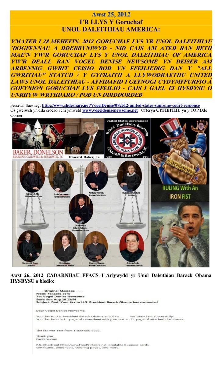 Awst 25, 2012                             IR LLYS Y Goruchaf                         UNOL DALEITHIAU AMERICA:YMATEB I 28 M...