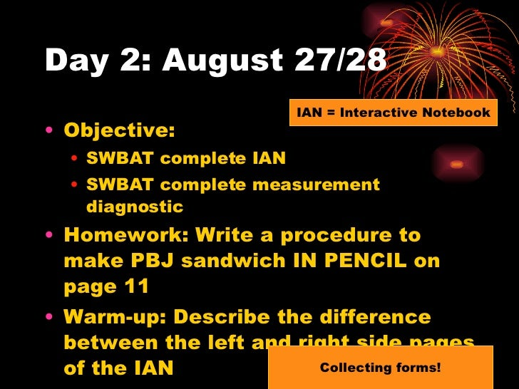 Day 2: August 27/28 <ul><li>Objective:  </li></ul><ul><ul><li>SWBAT complete IAN </li></ul></ul><ul><ul><li>SWBAT complete...