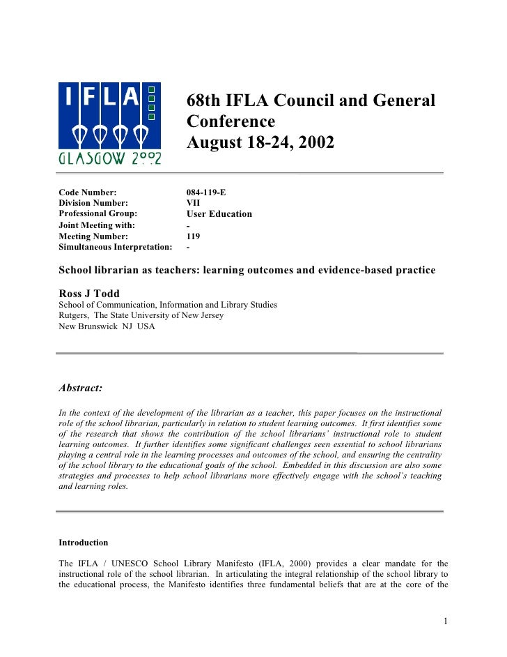 68th IFLA Council and General                                     Conference                                     August 18...