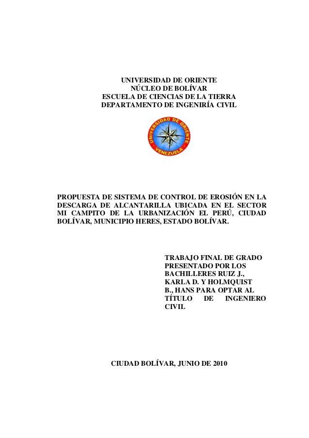 UNIVERSIDAD DE ORIENTE                NÚCLEO DE BOLÍVAR          ESCUELA DE CIENCIAS DE LA TIERRA          DEPARTAMENTO DE...