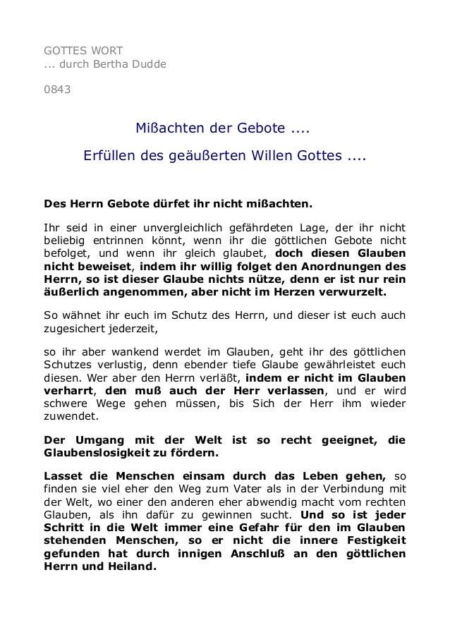 GOTTES WORT ... durch Bertha Dudde 0843 Mißachten der Gebote .... Erfüllen des geäußerten Willen Gottes .... Des Herrn Geb...