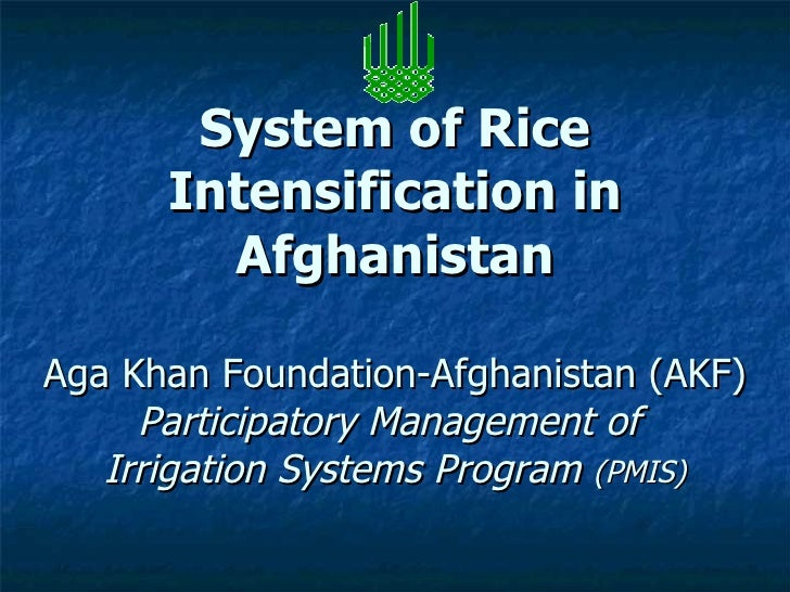 0847 System of Rice Intensification in Afghanistan