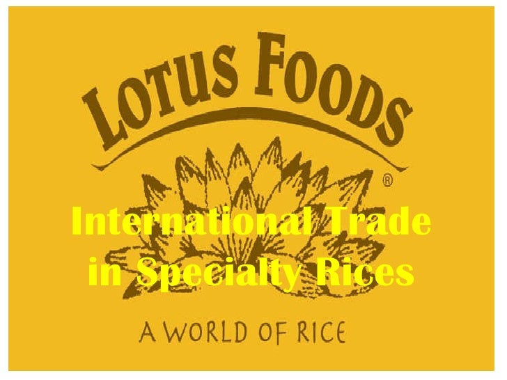 International Trade in Specialty Rices