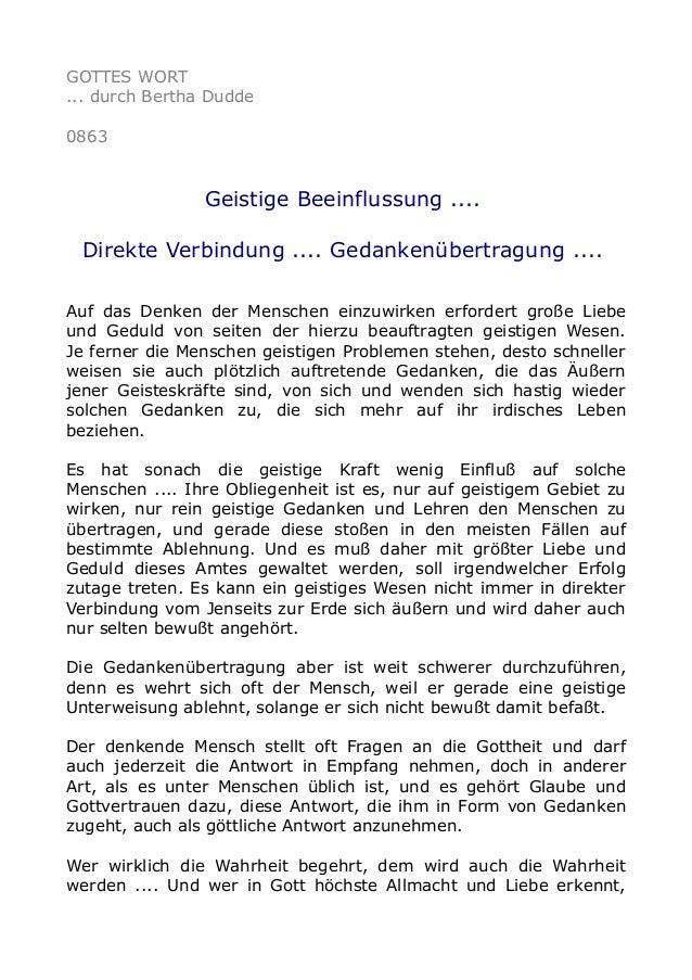 GOTTES WORT ... durch Bertha Dudde 0863 Geistige Beeinflussung .... Direkte Verbindung .... Gedankenübertragung .... Auf d...