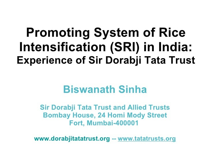 0869 Promoting System of Rice Intensification (SRI) in India: Experience of Sir Dorabji Tata Trust