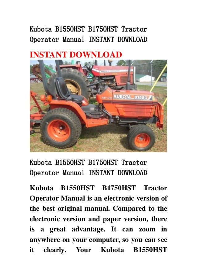Kubota B1550HST B1750HST Tractor Operator Manual INSTANT DOWNLOAD