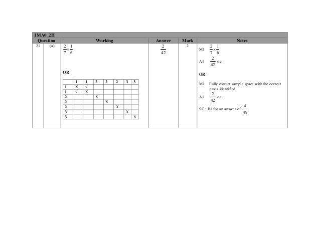 pixl maths paper november 2013 mark scheme