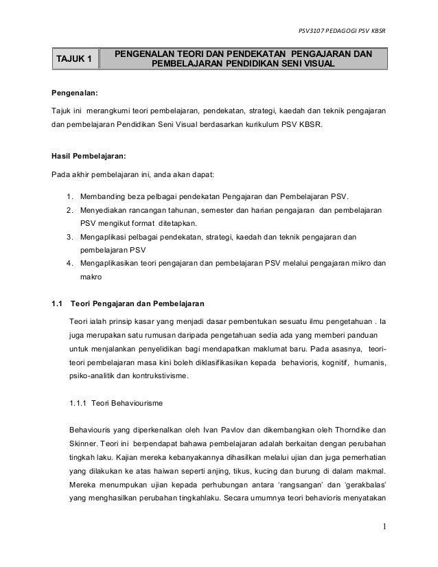 PSV3107 PEDAGOGI PSV KBSR Pengenalan: Tajuk ini merangkumi teori pembelajaran, pendekatan, strategi, kaedah dan teknik pen...
