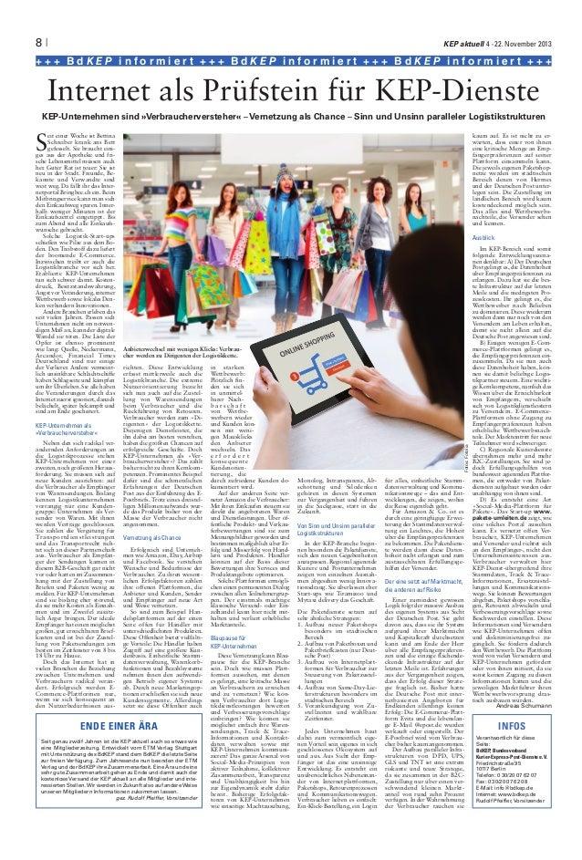 Internet als Prüfstein für KEP-Dienste - KEP aktuell 11/ 2013
