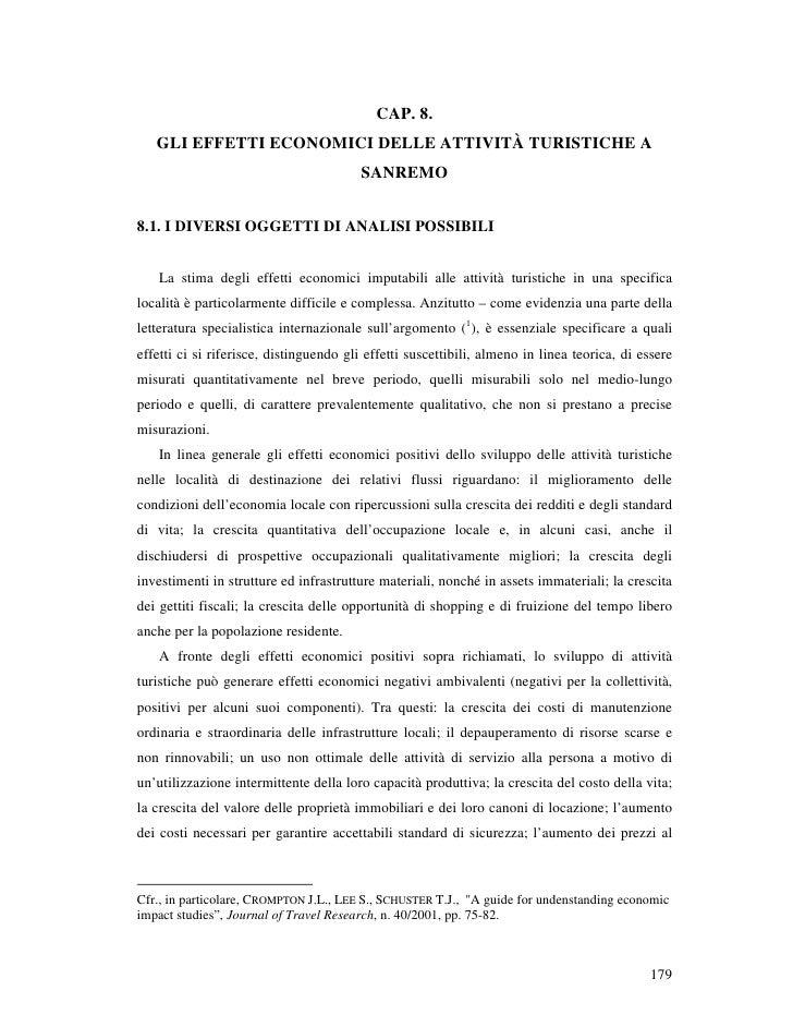 CAP. 8.    GLI EFFETTI ECONOMICI DELLE ATTIVITÀ TURISTICHE A                                          SANREMO   8.1. I DIV...