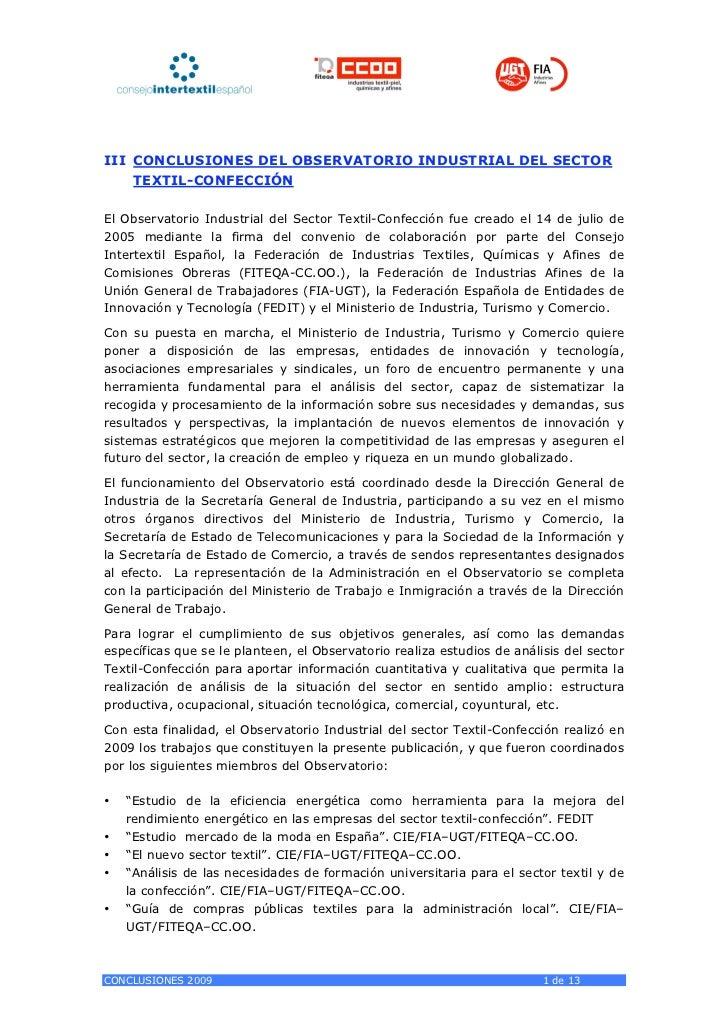 III CONCLUSIONES DEL OBSERVATORIO INDUSTRIAL DEL SECTOR    TEXTIL-CONFECCIÓNEl Observatorio Industrial del Sector Textil-C...