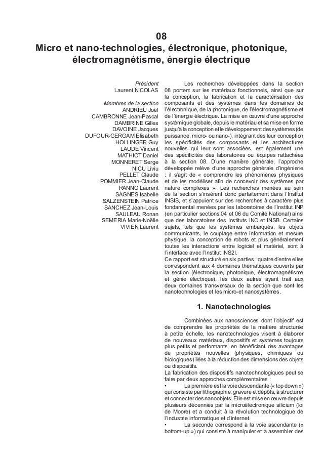 08 Micro et nano-technologies, électronique, photonique, électromagnétisme, énergie électrique Président Laurent NICOLAS M...