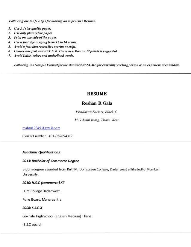 Preparing a resume