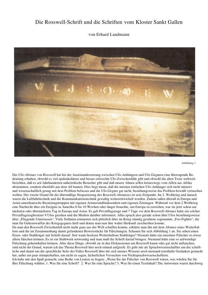Die Rosswell-Schrift und die Schriften vom Kloster Sankt Gallen                                                      von E...