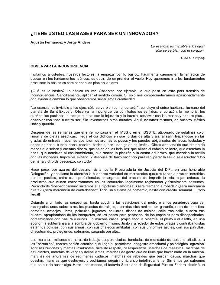 ¿TIENE USTED LAS BASES PARA SER UN INNOVADOR?Agustín Fernández y Jorge Andere                                             ...