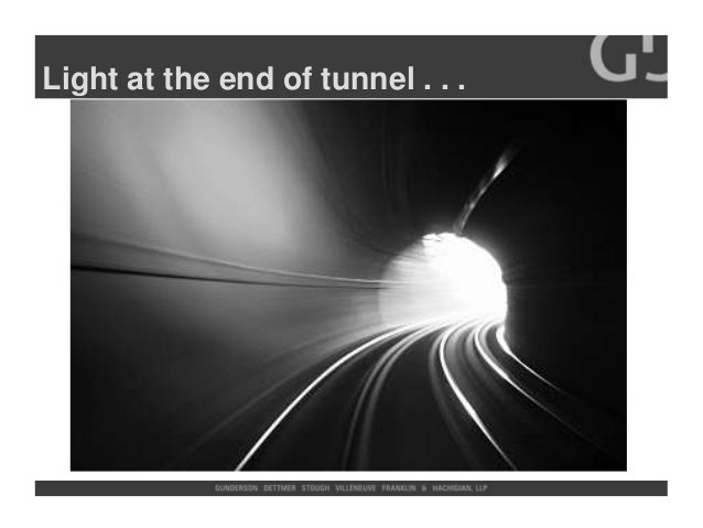 Light at the end of tunnel . . .