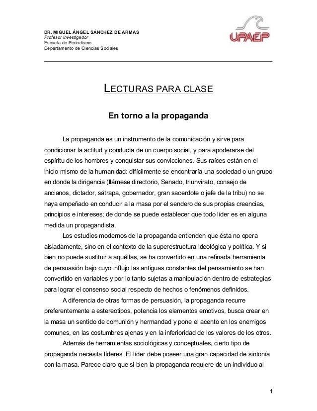 DR. MIGUEL ÁNGEL SÁNCHEZ DE ARMAS Profesor investigador Escuela de Periodismo Departamento de Ciencias Sociales 1 LECTURAS...