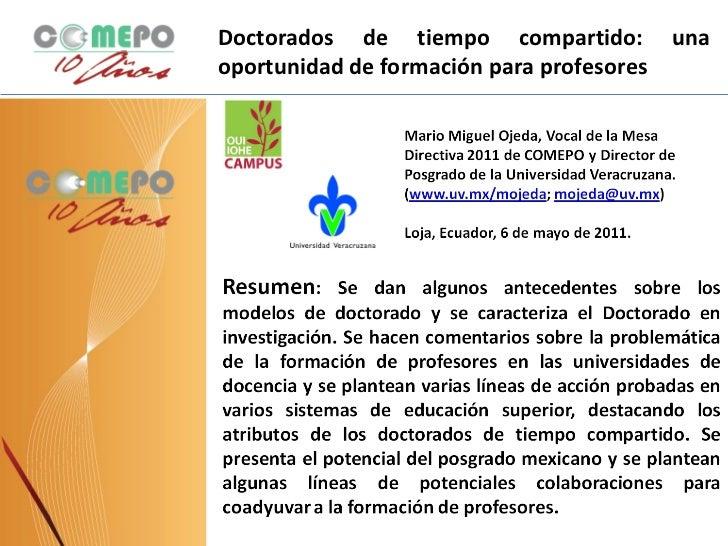 Ponente: Mario Miguel Ojeda, representante del Consejo Mexicano de Postgrado