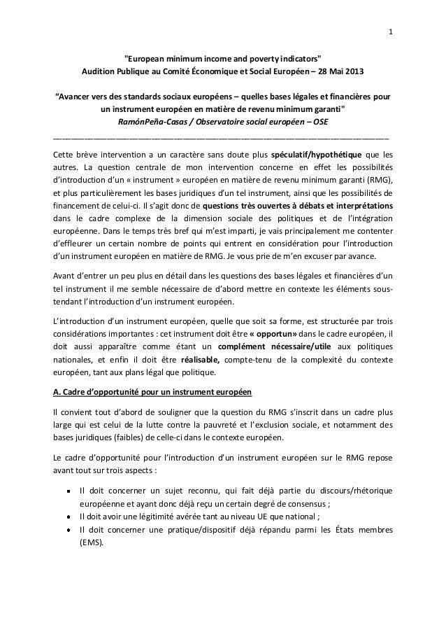 """1""""European minimum income and poverty indicators""""Audition Publique au Comité Économique et Social Européen – 28 Mai 2013""""A..."""