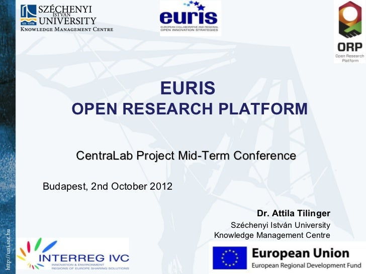 EURIS     OPEN RESEARCH PLATFORM      CentraLab Project Mid-Term ConferenceBudapest, 2nd October 2012                     ...