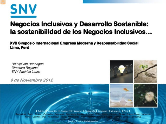 Los Negocios Inclusivos y el Desarrollo Sostenible
