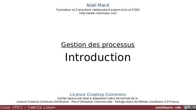 Noël Macé Formateur et Consultant indépendant expert Unix et FOSS http://www.noelmace.com  Gestion des processus  Introduc...