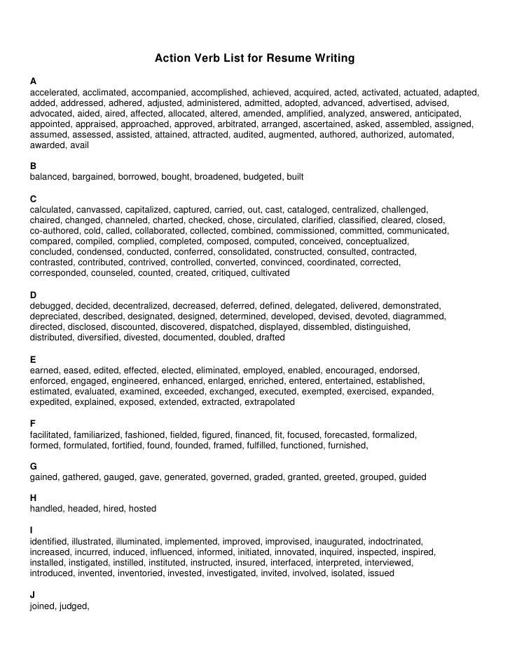 Resume Action Verbs List JzrXaoiZ