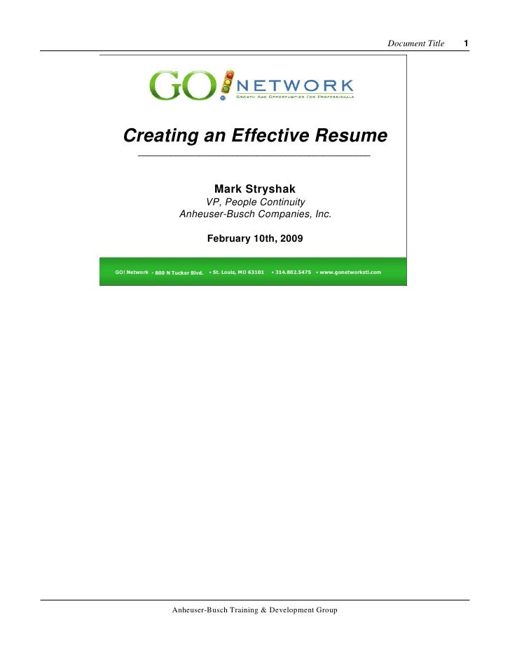 Document Title   1       Creating an Effective Resume         _________________________________________________           ...