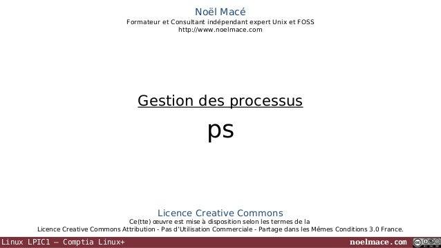 Noël Macé Formateur et Consultant indépendant expert Unix et FOSS http://www.noelmace.com  Gestion des processus  ps  Lice...
