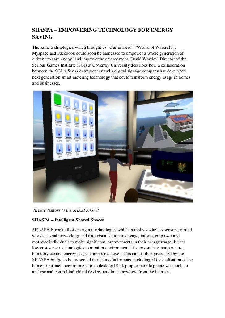 """SHASPA – EMPOWERING TECHNOLOGY FOR ENERGYSAVINGThe same technologies which brought us """"Guitar Hero"""", """"World of Warcraft"""" ,..."""