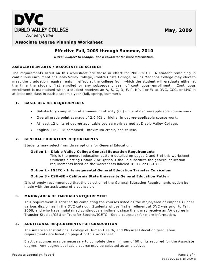 May, 2009        Counseling Center  Associate Degree Planning Worksheet                              Effective Fall, 2009 ...
