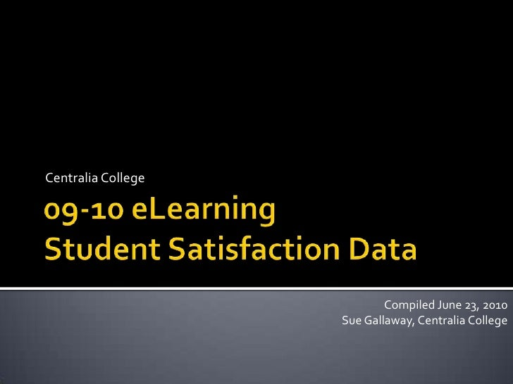 09-10 eLearningStudent Satisfaction Data<br />Centralia College<br />Compiled June 23, 2010<br />Sue Gallaway, Centralia C...