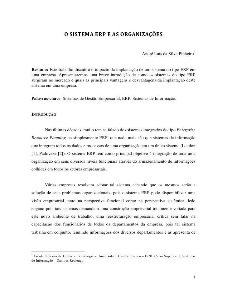 O SISTEMA ERP E AS ORGANIZAÇÕES                                                                     André Luís da Silva Pi...