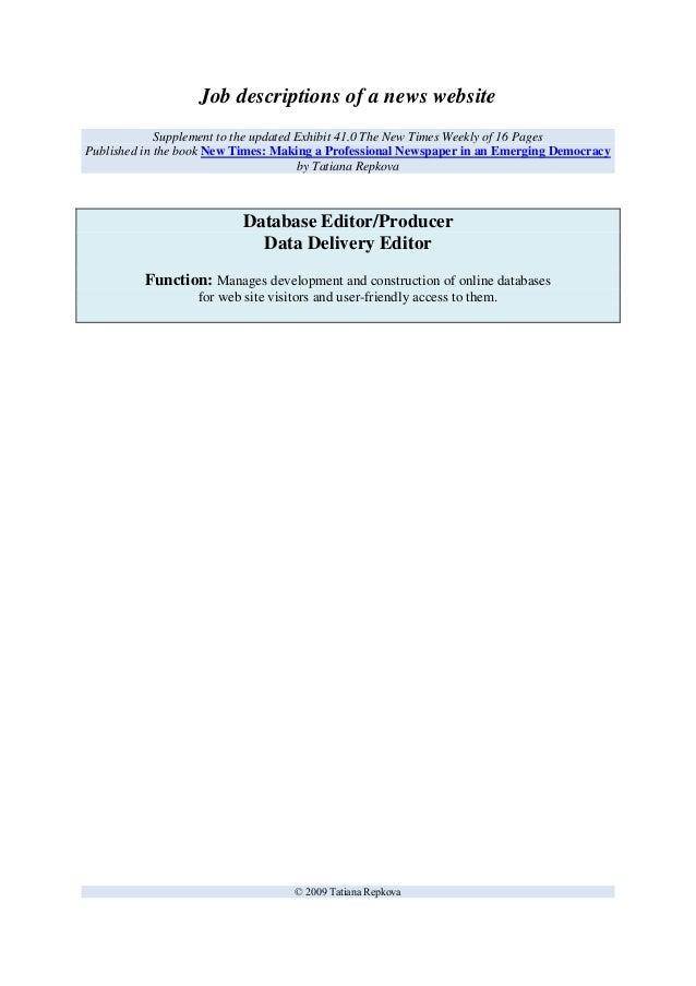 Managing Editor Job Description Samples