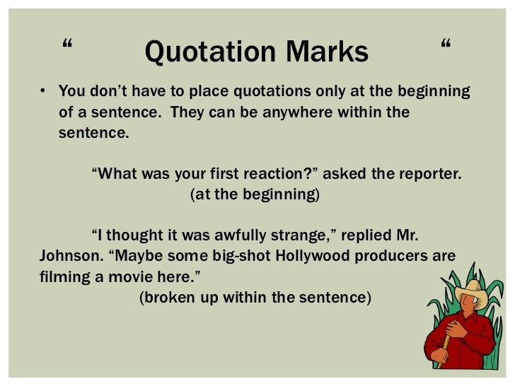 Gallery For &gt Quotation Marks In A Sentence