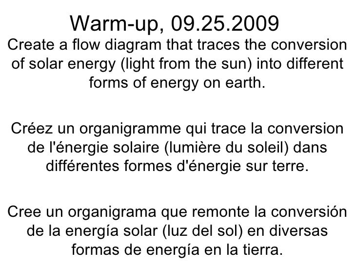 Warm-up, 09.25.2009 Create a flow diagram that traces the conversion of solar energy (light from the sun) into different f...