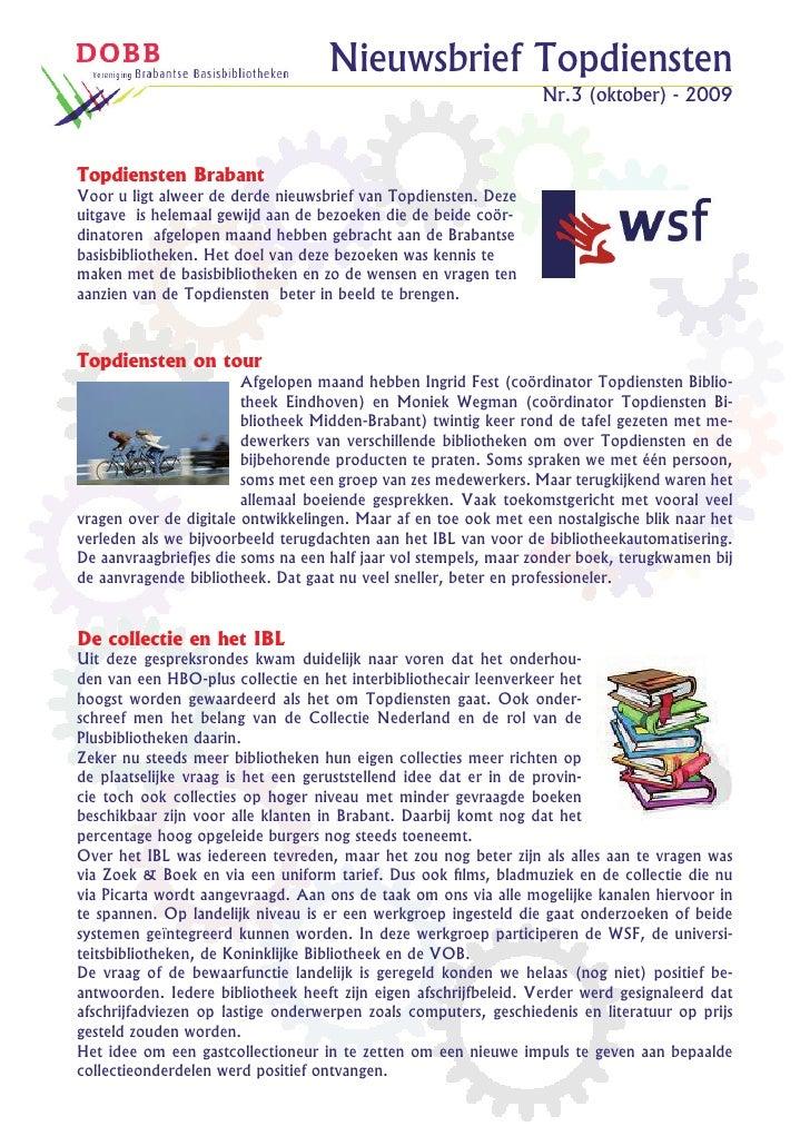 Nieuwsbrief Topdiensten                                                                  Nr.3 (oktober) - 2009    Topdiens...