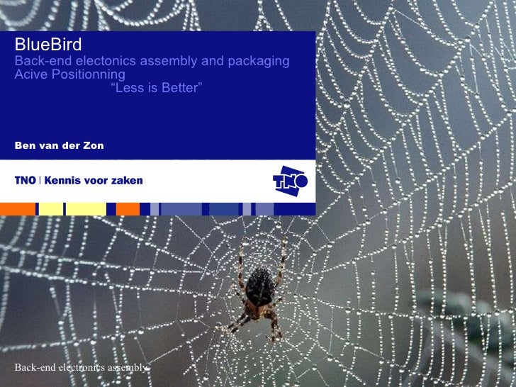"Ben van der Zon BlueBird Back-end electonics assembly and packaging Acive Positionning "" Less is Better"""