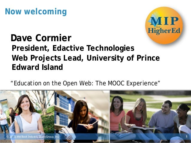 BISG's MIP for Higher Ed Publishing 2013 -- Dave Cormier