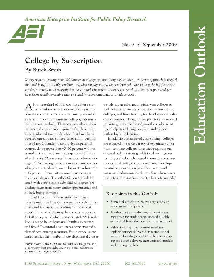 Education Outlook                                                                      No. 9 • September 2009   College by...