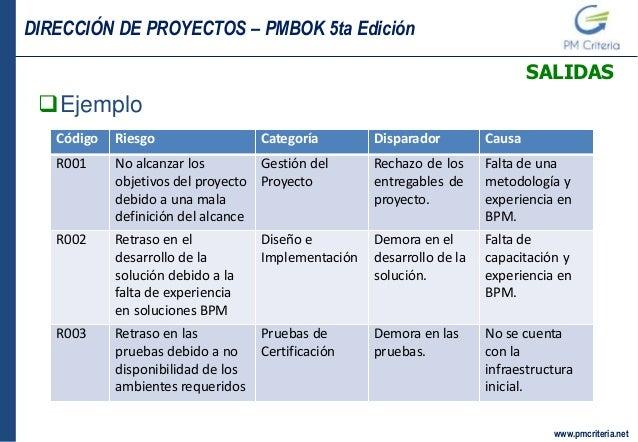 09 gestion de los riesgos for Ejemplo proyecto completo pmbok