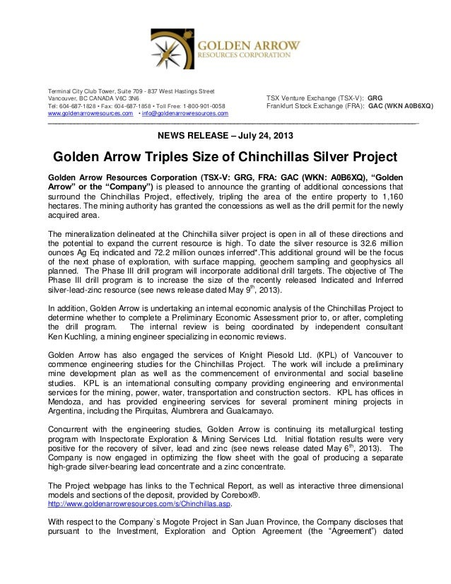 Golden Arrow Resources: Golden Arrow Triples Size of Chinchillas Silver Project