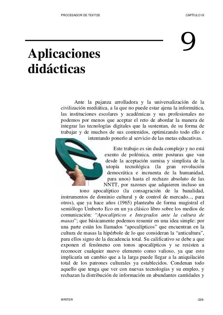 PROCESADOR DE TEXTOS                                        CAPÍTULO IX     Aplicaciones                                  ...
