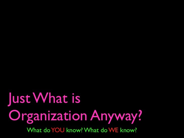 Just What is Organization Anyway?   What do YOU know? What do WE know?