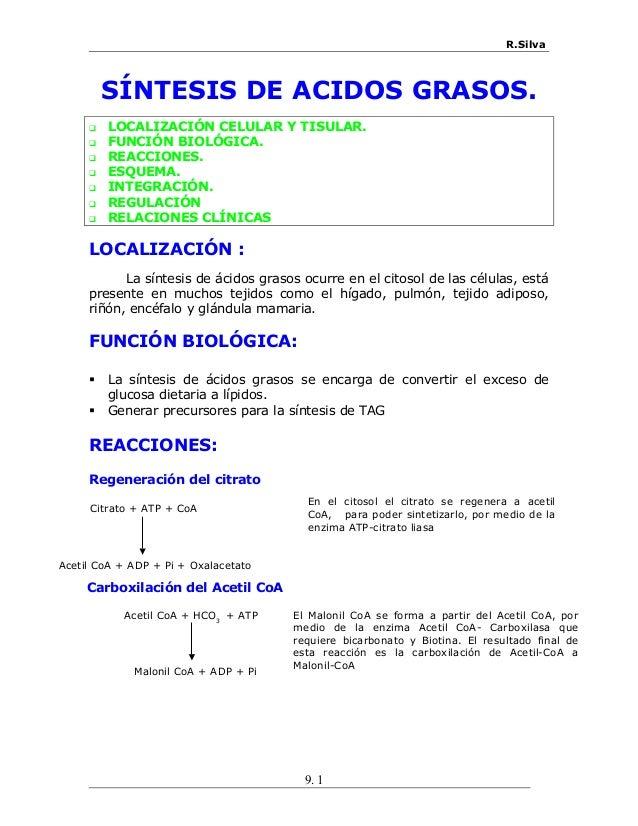 R.Silva SÍNTESIS DE ACIDOS GRASOS.  LOCALIZACIÓN CELULAR Y TISULAR.  FUNCIÓN BIOLÓGICA.  REACCIONES.  ESQUEMA.  INTEG...